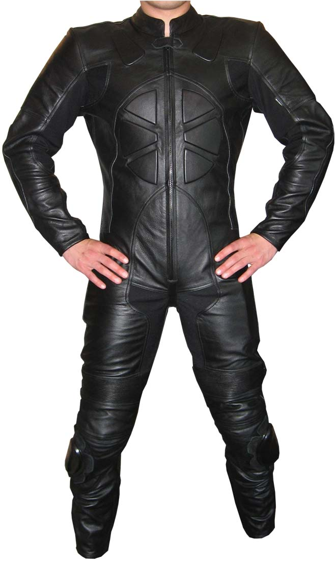 """CHAOS"" 1-piece Black Leather Biker Motorcycle Suit"