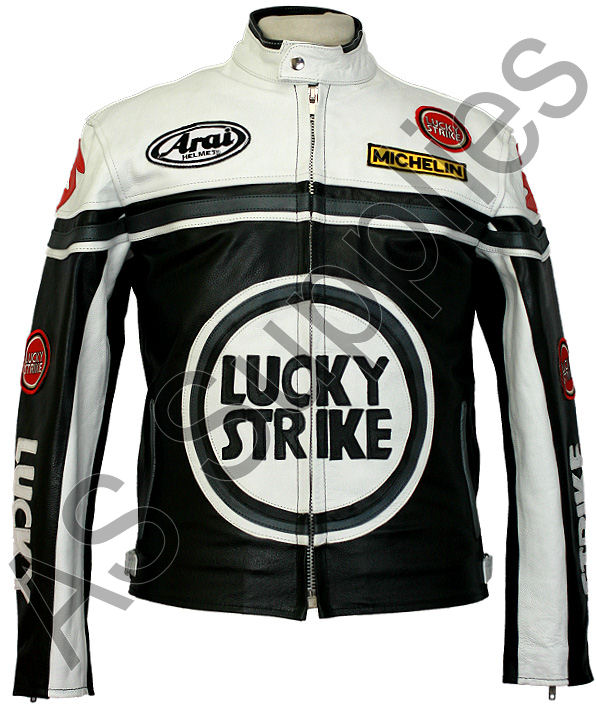 lucky strike motorcycle jacket leather biker jacket black white ebay