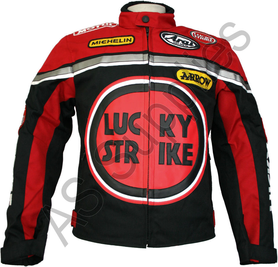 lucky strike motorcycle jacket textile cordura biker jacket black red ebay